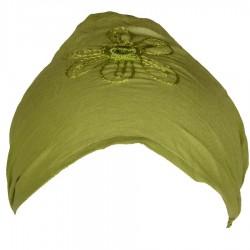 Bandeau bébé cheveux coton uni vert anis