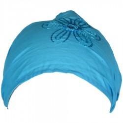 Bandeau cheveux baba cool coton uni turquoise
