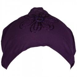 Bandeau femme cheveux coton uni violet foncé