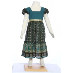 Ethnic long dress girl indian cotton petrol