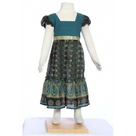 Robe longue indienne bleu verte
