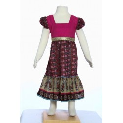 Ethnic long dress girl indian cotton pink