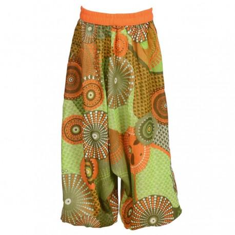 Sarouel indien coton imprimé anis et orange