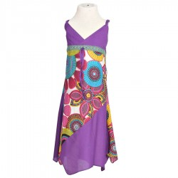 Robe pointue asymétrique coton indien violet