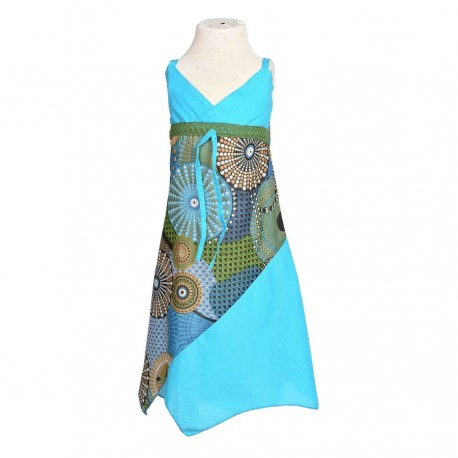 Robe pointue indienne coton turquoise