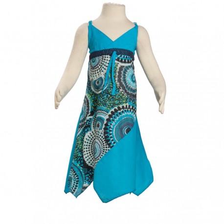 Robe asymétrique coton indien imprimé turquoise