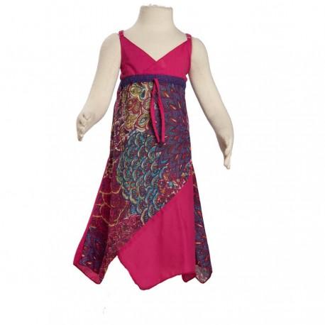 Robe asymétrique coton indien imprimé rose
