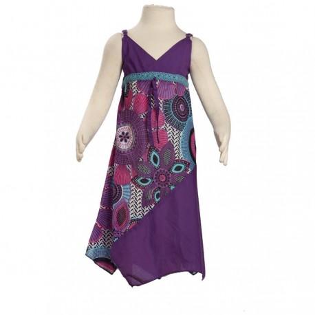 Robe asymétrique coton indien imprimé violette