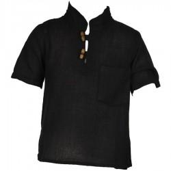 Camisa etnica mangas cortas cuelloMao unida negra