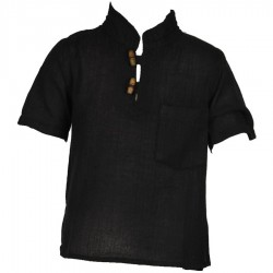 Ethnic short sleeves shirt Maocollar plain black