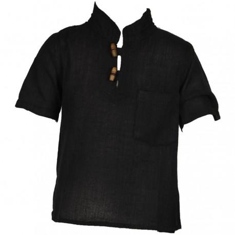 Ethnic short sleeves shirt Maocollar plain black
