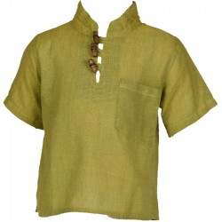 Ethnic short sleeves shirt Maocollar plain lemon green