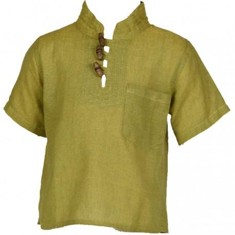 Ethnic short sleeves shirt Maocollar plain lemon green