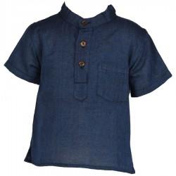 Chemise coton col Mao unie bleue     2ans