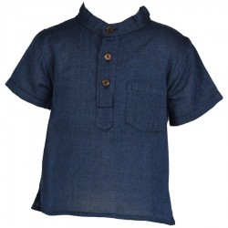Chemise hippie garçon unie bleue     6mois