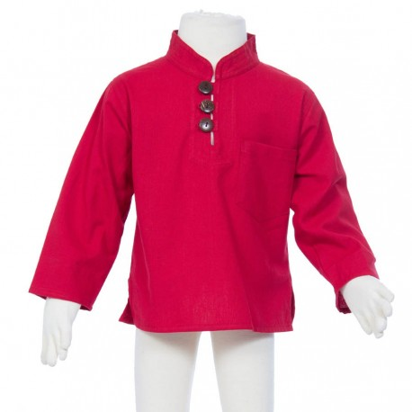 Hippy long sleeves shirt Maocollar plain red