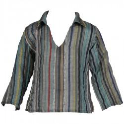Chemise indienne rayée bleu marine