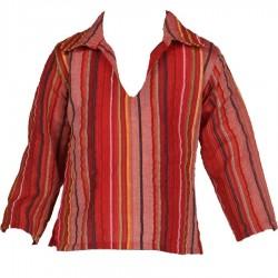 Chemise Kurta enfant rayée rouge