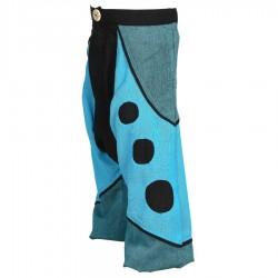 Sarouel pantalon népalais turquoise pétrole et noir