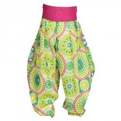 Pantalon Aladin fille vert jaune rose