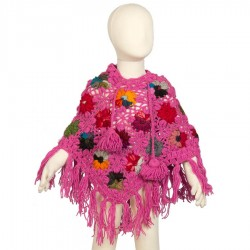 Girl poncho wool crochet pink 3-4years