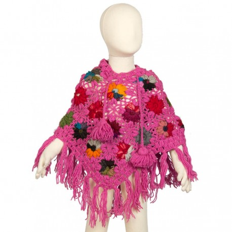 Girl poncho wool crochet pink 3-4years