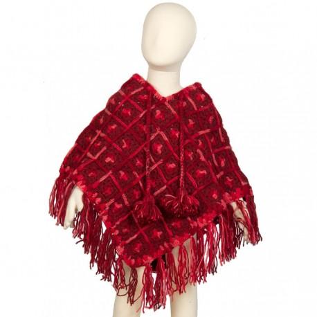 Girl poncho wool crochet red 4-6years