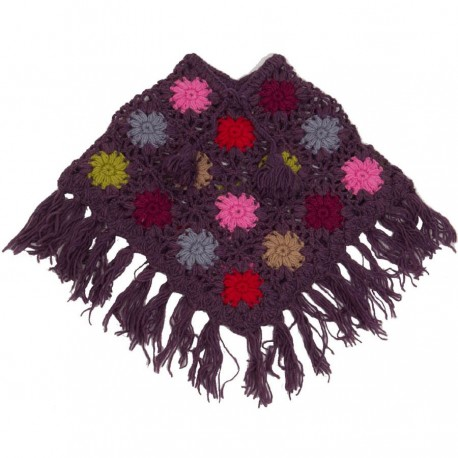 Poncho bebe lana ganchillo violeta 2-3anos