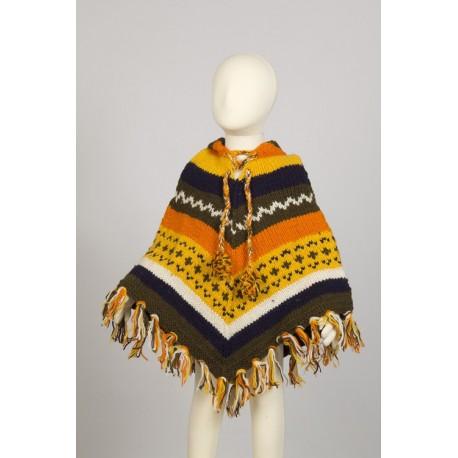 Boy poncho wool hood 4-6years G3