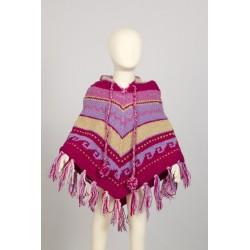 Poncho lana nino chica tricotado mano limon rose azul 3-4anos F1