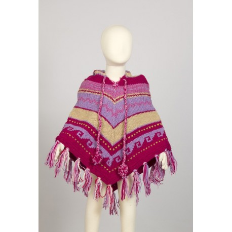 Wool poncho kid girl hood knitted lemon pink blue 3-4years F1