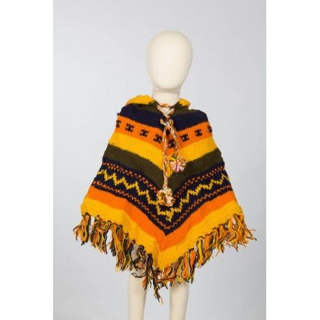 Boy poncho wool hood yellow orange 3-4years G1
