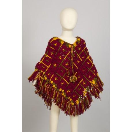 Kid poncho wool crochet hippy darkred 4-6years