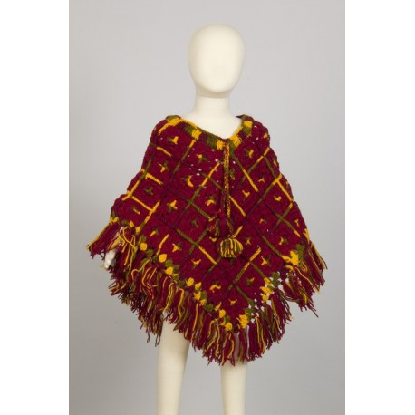 Poncho nino lana ganchillo hippie rojo violaceo 4-6anos