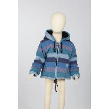 Veste baba cool laine bleu 10 ans