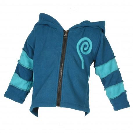 Veste polaire garçon bleu pétrole et turquoise