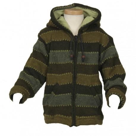 Veste laine garçon capuche pointue kaki 10 ans