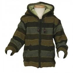 Veste laine garçon kaki 3ans
