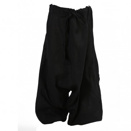 Plain black mixed afghan trousers   3years