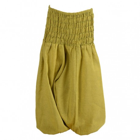 Pantalon afgano chica unido verde limon    4anos