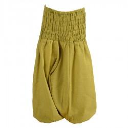Pantalon afgano bebe unido verde limon    12meses