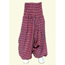 Pantalon afgano chica rayado violeta 6meses
