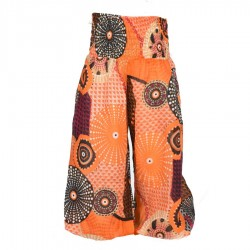 Pantalon bouffant indien imprimé orange