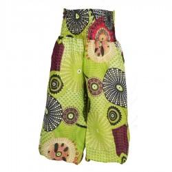 Pantalon bouffant indien imprimé vert anis