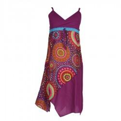 Robe asymétrique fille imprimée violette