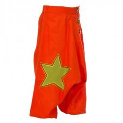 Pantalon afgano hippie nino bordado estrella naranja