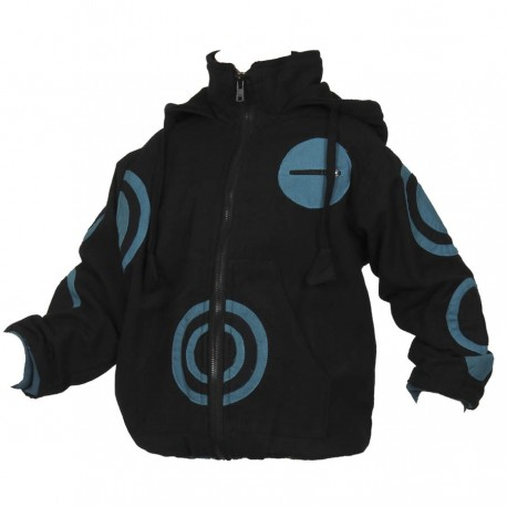 Boy ethnic bomber hood black and petrol blue