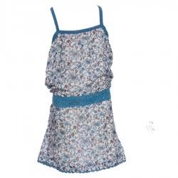 Vestido florido etnico velo indio espalda desnuda azul