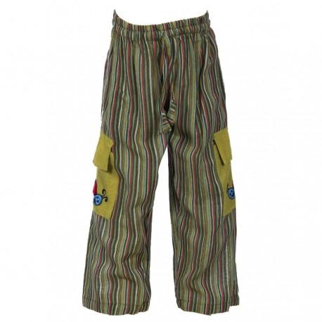 Pantalon Népal garçon rayé kaki