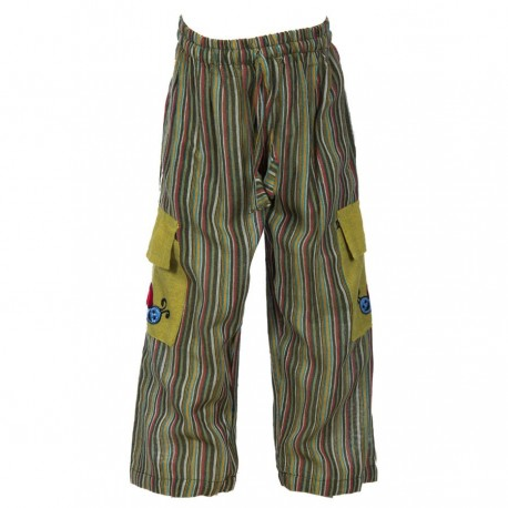 Pantalon rayado caqui    12meses